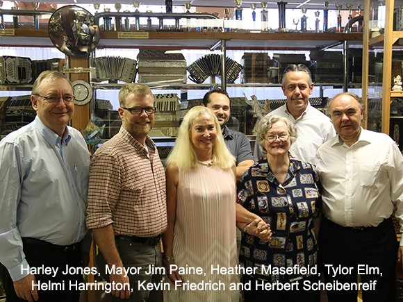 Harlye Jones, Mayor Jim Paine, Heather Masefield, Tylor Elm, Helmi Harrington, Kevin Friedrich and Herbert Scheibenreif
